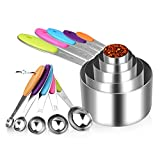 Measuring Cups and Spoons Set- Superior 10pcs Stainless Steel Colorful Measuring Set Engraving Measurement Tool & Utensils for Cooking & Baking Home Kitchen Gadget Perfect for Liquid & Dry Ingredients