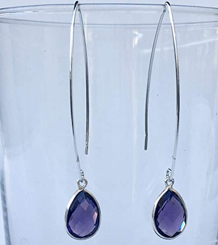 Purple Casual Earrings (Purple Quartz Teardrop Silver Threader Earrings Jewelry Gift for Women)