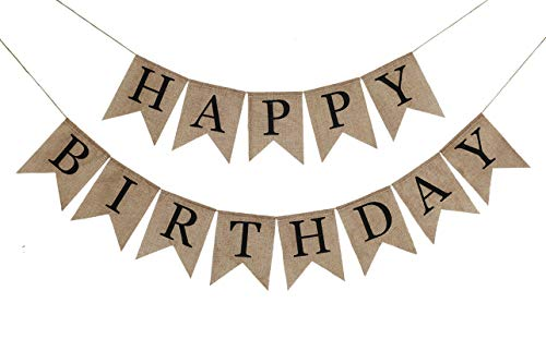 Rustic Happy Birthday Burlap Banner Bunting Garland Swallowtail Flags for Birthday Party Decorations by Ucity (Black)]()