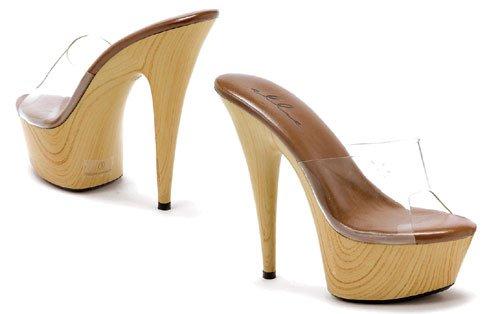 Ellie Shoes Mya 6 Inch Wood Stiletto Platform Slip On Mule Heel (Clear;9) (Mule Platform Stiletto)