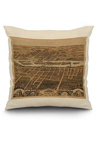 Batavia, Illinois - Panoramic Map (20x20 Spun Polyester Pillow, White Border) Batavia Bath