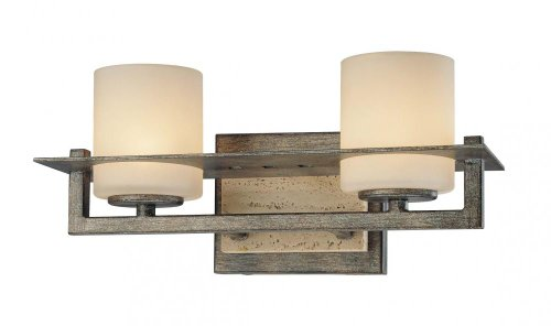Minka Lavery Wall Light Fixtures 6462-273 Compositions Glass Bath Vanity Lighting, 2 Light, 150 Watts Halogen, Iron