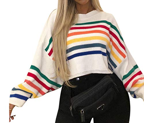 Womens Striped Sweaters Pullover Casual Crew Neck Batwing Long Sleeve Rainbow Knit Shirts Autumn Winter Color Block Jumpers / Womens Striped Sweaters Pullover Casual Crew Neck Batwing Long Sleeve Rainbow Knit Shirts Autumn Winter C...