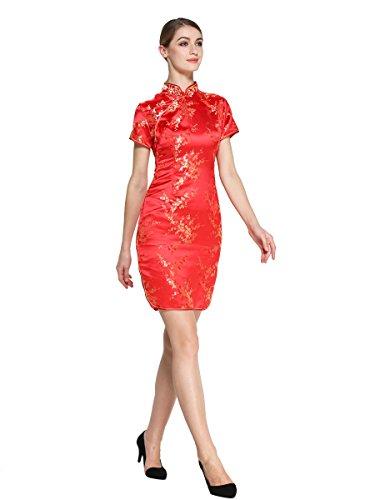 Bitablue Femmes Robe Rouge Chinois Fleur Wintersweet Or