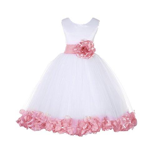 EkidsBridal White Floral Rose Petals Flower Girl Dress Birthday Girl Dress Junior Flower Girl Dresses 302s 8 Poly Mini Flower