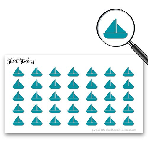 Sailboat Boat Sea Sailing Boating, Sticker Sheet 88 Bullet Stickers for Journal Planner Scrapbooks Bujo and Crafts, Item 583818