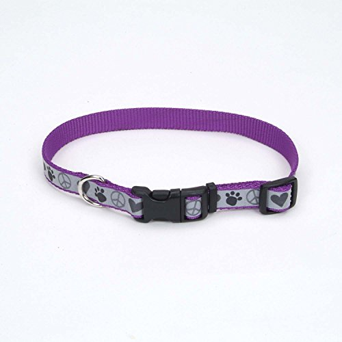 "Coastal Pet Lazer Brite Reflective Nylon Dog Collar in Purple with Peace Signs & Hearts, Medium, 5/8"" Width"