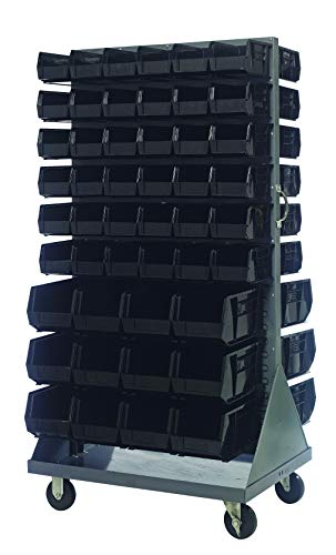 (Quantum Storage QMD-36H-230240BK Mobile Double Sided Gray Louvered Rack System with Bins, 36