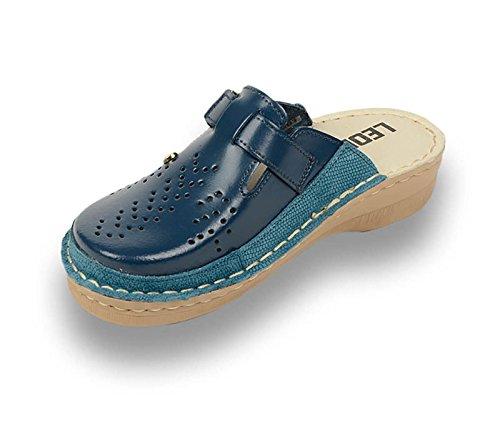 Sabots Femme Chaussures Chaussons en Dames Bleu Cuir Mules LEON V261 57w0qRnS