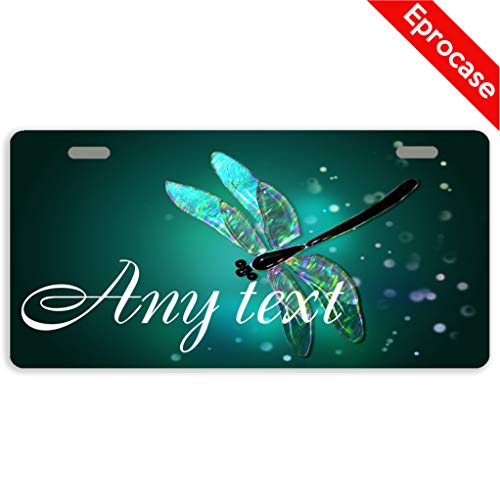 Eprocase Custom Personalized Dragonfly License Plate Cover Decorative Car Tag Sign Metal Auto Tag Novelty Front License Plate 2 Holes (11.8