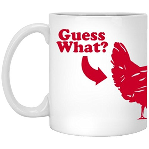 SkyUp Mugs - Guess What? Chicken Butt - 11 Ounce White Ceramic Coffee or Tea Mug