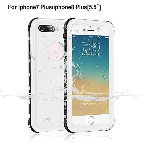 Garcoo Waterproof Case for iPhone 7 Plus / 8 Plus [5.5 inch], IP68 Certified Fully Sealed Underwater, Shockproof Dustproof and Snowproof, Suitable for Outdoor Sports (White)