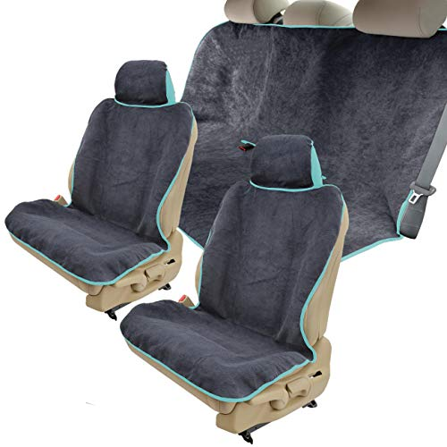 (UltraFit Sweat Towel Car Seat Covers - 2 Front Bucket Seat Protectors & Rear Bench for Workout Gym Outdoors Beach Sports Crossfit Yoga Towel Waterproof Seat Covers for Auto (Mint Trim))