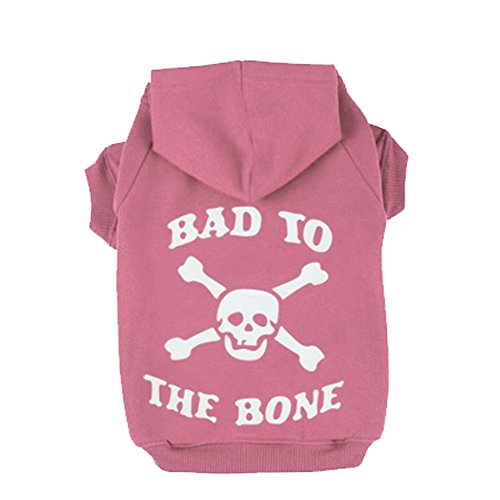 Pink XXL BAD TO THE BONE Printed Skull Cat Fleece Sweatershirt Dog (Diy Dog Costume Hoodie)