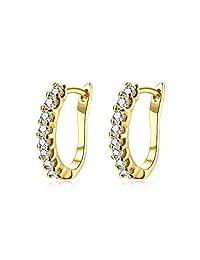 Fashion Small Diamond Cubic Zirconia Huggie Hoop Earrings for Women Girls Dainty Hypoallergenic CZ Studs For Sensitive Ears