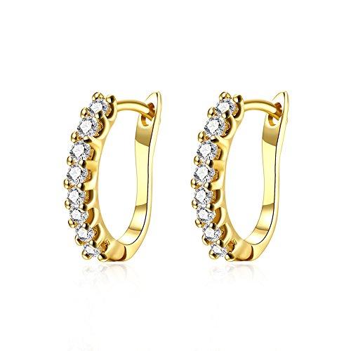 14k Gold Pierced Earrings - 14K Gold Small Huggie Hoop Earrings for Women Girls Cubic Zirconia CZ Crystal Hypoallergenic Pierced Studs Post For Sensitive Ears