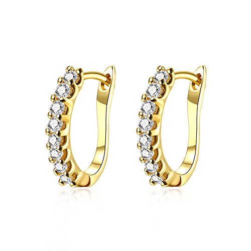 14kt Gold Plated Rhinestone Earrings - 14K Gold Small Huggie Hoop Earrings for Women Girls Cubic Zirconia CZ Crystal Hypoallergenic Pierced Studs Post For Sensitive Ears