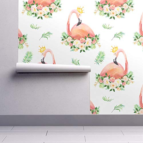 Pink Wallpaper Roll - Flowers Floral Baby Girl Flamingo Coral Nursery by Shopcabin - 1 Roll 24in x 27ft (Flamingo Coral)