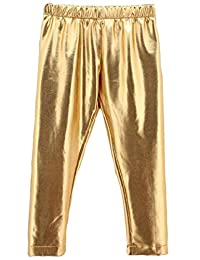 Baby Toddler Kids Girls Gold Shiny Pants Tights Legging