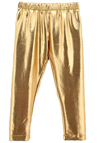 Baby Toddler Kids Children Girls Gold Shiny Pants Tights Leggings Trousers (8-9 - Gold Shiny