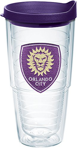 Tervis 1168532 MLS - Orlando City Soccer Club Logo Tumbler with Emblem and Royal Purple Lid 24oz, Clear