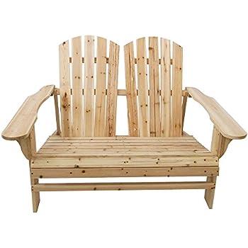Bon TANGON Wooden Double Adirondack Chair Loveseat, 2 Person Fir Wood Rustic  Outdoor Lounge Patio Adirondack
