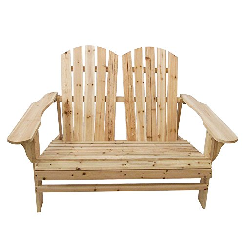 - TANGON Wooden Double Adirondack Chair Loveseat, 2 Person Fir Wood Rustic Outdoor Lounge Patio Adirondack Chair Bench (Natural)