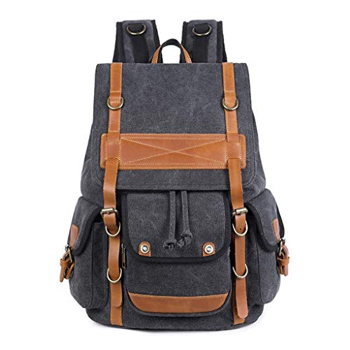 (WJL Vintage Unisex Casual Canvas Rucksack, Suitable for 14-inch Laptop Large-Capacity Travel Hiking Camping)