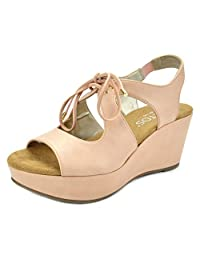 TOETOS SANDRO-02 New Women's Casual Open Toes Mid Heels Lace Up Platform Wedges Summer Sandals