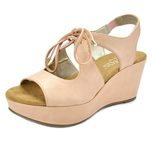 TOETOS Women's Sandro-02 Pink Dust Mid Heel Platform Wedges Sandals - 8 M US
