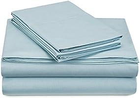 Pinzon Juego de sábanas de percal de algodón de 300 Hilos - matrimonial, Azul SPA
