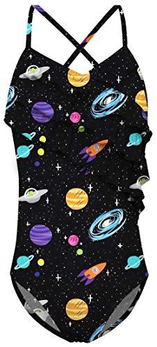 Big Girl's One Piece Swimwear Space Bathing Suits Thin Straps Swimsuit Galaxy Printed Lace Ruffle Swimwears Swim Lesson Size 10-12 Years