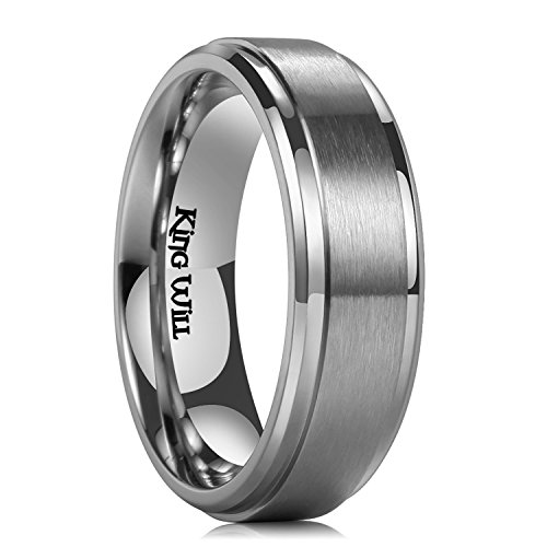 King Will BASIC 7mm Mens Titanium Ring Wedding Band Brushed Matte Finished Engagement Ring Comfort Fit 10.5 by King Will