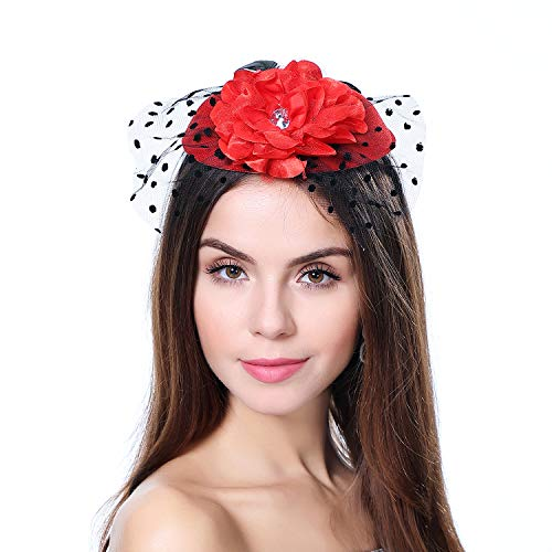 (homy Fascinator Hats Feather Fascinators for Women Pillbox Hat Headband for Wedding Derby Tea Party Race D - Red, Small)