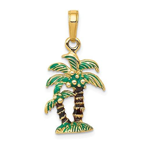 FB Jewels 14K Yellow Gold Enameled Palm Trees Pendant