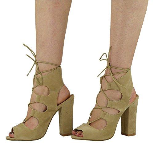 De Peeptoe Lacent Découpe Taille Femme 3 Carré Chaussures 8 La Sandales Haut Talon Beige Cheville Nouvelles De Dames Fw4KI