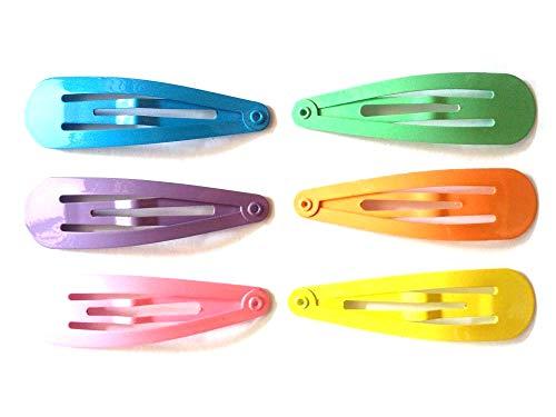 24 Pcs Mix Pastel colors Hair Snap Clip Size 50 mm ()