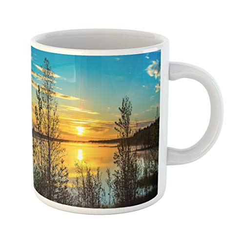 Semtomn Funny Coffee Mug Blue River Sunset Forest Lake Fog Panoramic Landscape Sea 11 Oz Ceramic Coffee Mugs Tea Cup Best Gift Or Souvenir