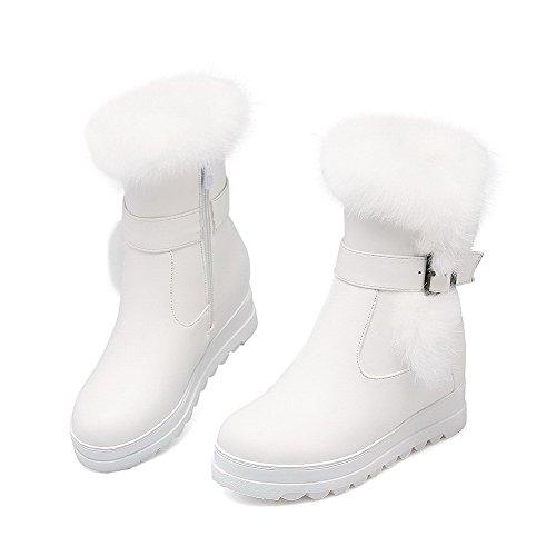 AllhqFashion Damen Niedrig-Spitze Reißverschluss Mittler Absatz Stiefel mit Schnalle Weiß