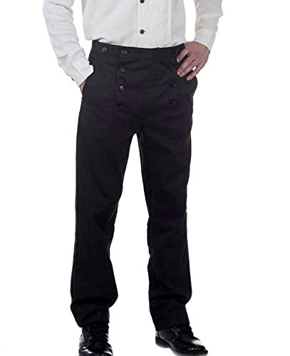 Steampunk Victorian Costume Architect Pants Trousers -Black (large)