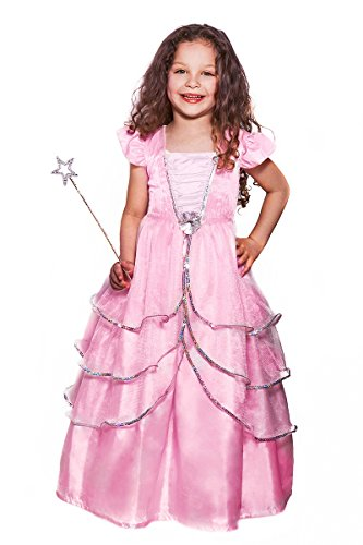 Crystal Pink Princess Costume With Toy Wand (age 3-5 years) by Fairies Galore (Pink Velvet Princess Costume)