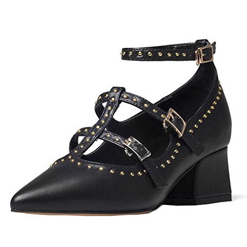 ENMAYER Womens Cowhide Ankle Strap Pointed Toe Cone heels Metal rivets Casual Dress Sandals Black CCJaP