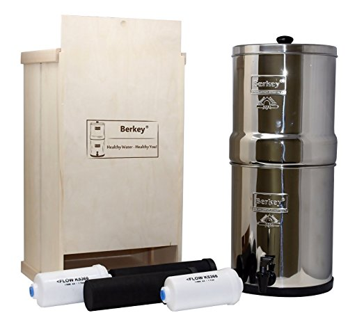Berkey Water Filter Healthy Bundle with Black BB9 Purifiers, Fluoride Filters, Wood Storage Box (1.5 gallon Travel Berkey) by Berkey