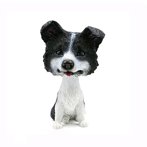 Dog Collie Figurine (Resin Crafted Statue-Puppy Dog Resin Figurine Big Head Shook Head Dog Statue (Border Collie))