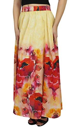 Elastique D'ete Et Rouge Femme Imprime Maxi En Jupes Pour Floral Coton Jaune Jupe Taille Bimba nOqB7P84fW