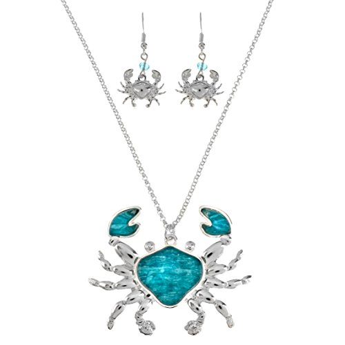 (Sea Life Textured Colored Stone Necklace and Earrings Set 18'' (Crab-Blue) )