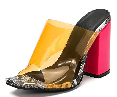 Womens Clear Wedge Mules Open Toe Chunky High Heel Sandals with Snakeskin Pattern Orange pu US7 EU38 - High Heel Mules
