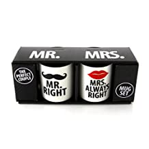 Enesco ENEYA Our Name is Mud 'Mr. Right and Mrs. Always Right' Mugs by Lorrie Veasey, Set of 2