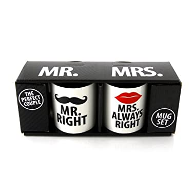 Our Name Is Mud 'Mr. Right and Mrs. Always Right' Mugs by Lorrie Veasey, Set of 2