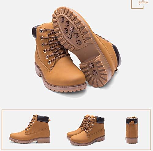 Martin Amarillo Mujeres Rosa Senderismo Zapatos Grandes Mujer Para Planas Aire Sencillas Al Calientes Tamaño Libre Liangxie De Botas Pu Grande xawTZxH